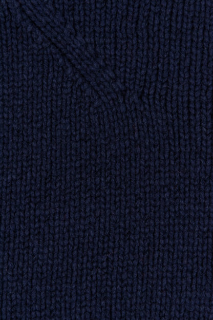 Womens Navy Blue Wool Funnel Neck Jumper Detail 2