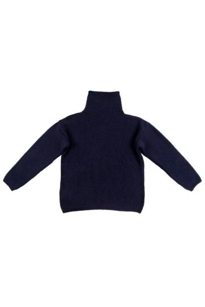Womens Navy Blue Wool Funnel Neck Jumper