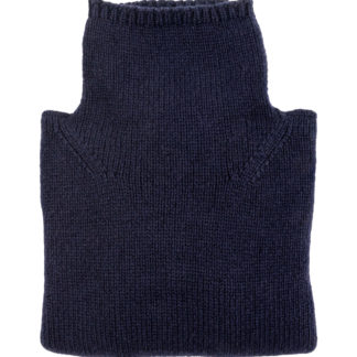 Womens Navy Blue Wool Funnel Neck Jumper