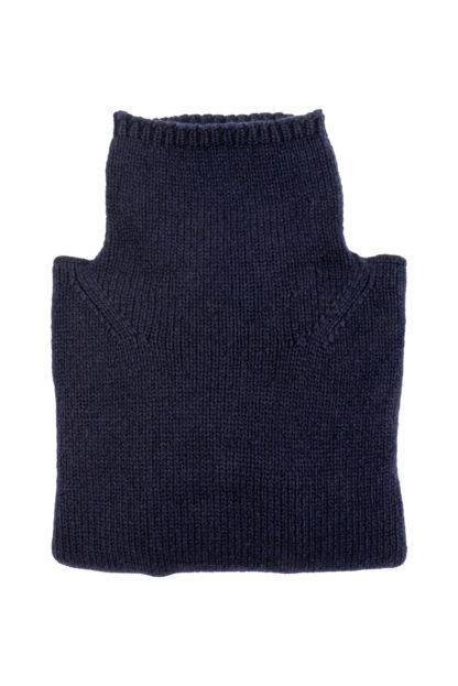Womens Navy Blue Wool Funnel Neck Jumper folded