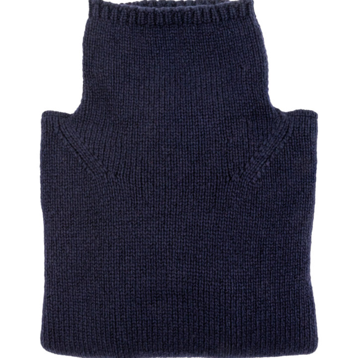 Womens Navy Blue Wool Funnel Neck Jumper folded