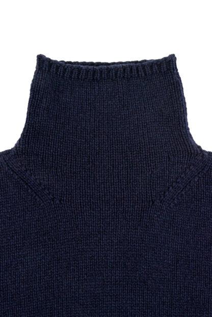 Womens Navy Blue Wool Funnel Neck Jumper Detail 3