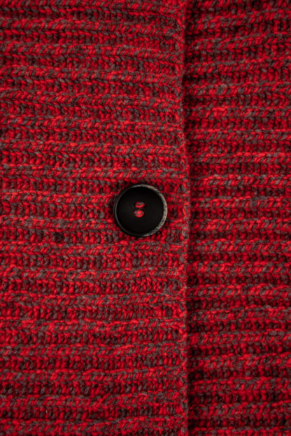 Womens Red Ribbed Wool Cardigan Detail of Button