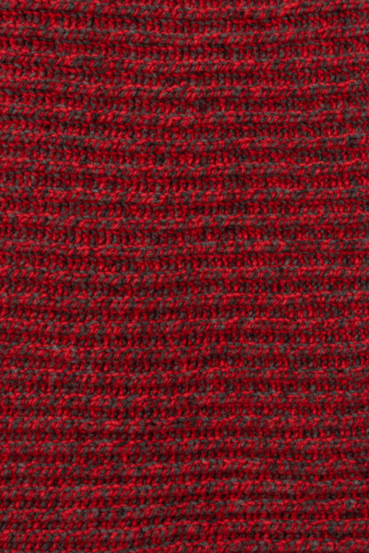 Womens Red Ribbed Wool Cardigan Detail 2