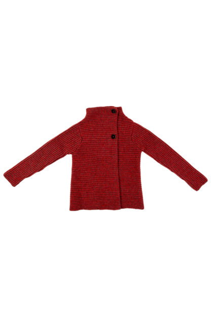 Womens Red Ribbed Wool Cardigan