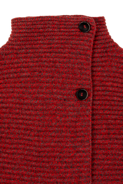 Womens Ribbed Wool Cardigan Detail of Collar