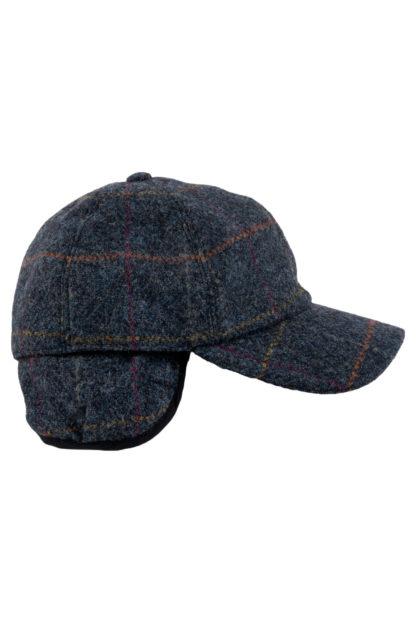 Blue Tweed Baseball Cap Side View