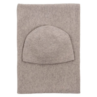 Beige Cashmere Baby Hat and Blanket