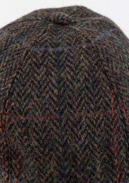 Green Herringbone Tweed Baseball Cap Detail