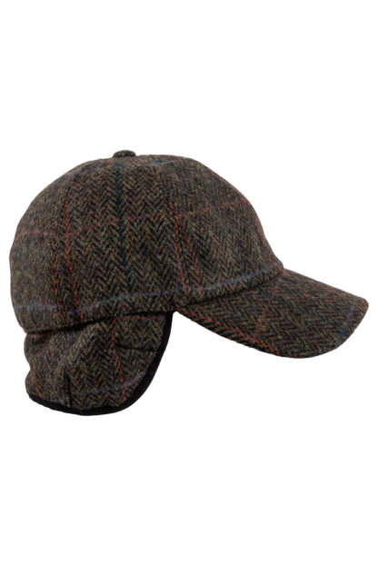 Green Herringbone Tweed Baseball Cap Side View