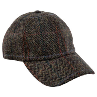 Green Herringbone Tweed Baseball Cap