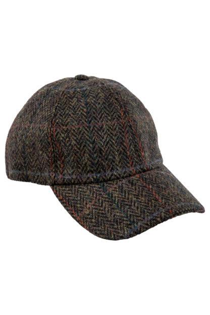 Green Herringbone Tweed Baseball Cap