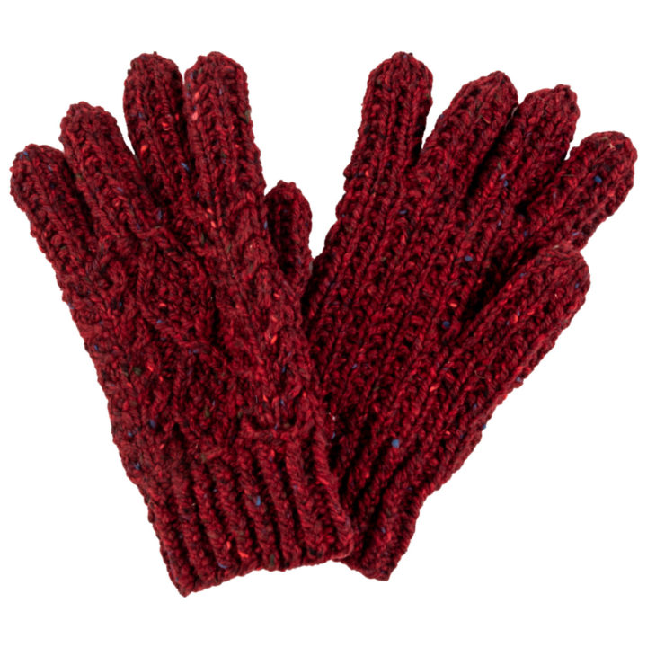 Hand Knitted Aran Wool Gloves - Claret