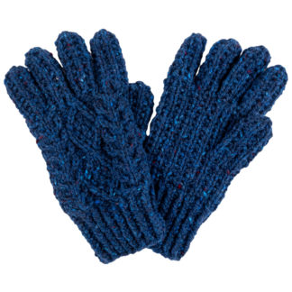 Hand Knitted Aran Wool Gloves - Cobalt Blue