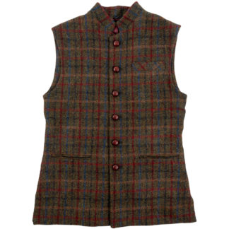 Mens Harris Tweed Wool Gilet Front