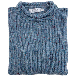 Womens Pale Blue Donegal Wool Jumper Folded