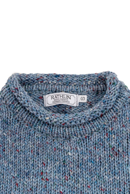Womens Pale Blue Donegal Wool Jumper Detail of Collar