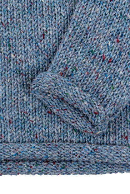Womens Pale Blue Donegal Wool Jumper Cuff and Edge Detail