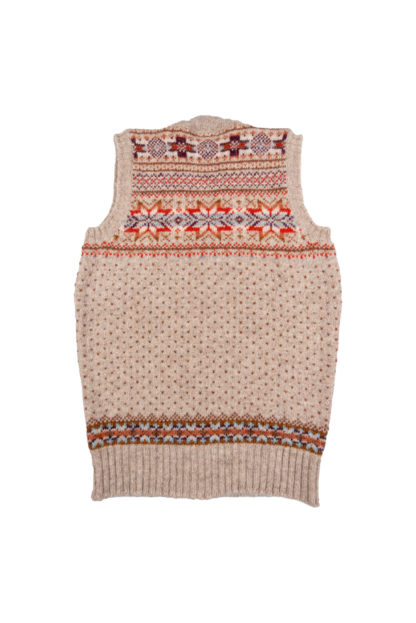 Womens Fair Isle Sleeveless Cardigan Back