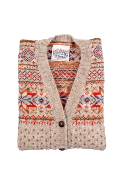 Womens Fair Isle Sleeveless Cardigan Folded
