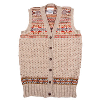 Womens Fair Isle Sleeveless Cardigan front