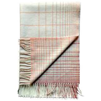 Cream with Orange and Pink Check Pashmina