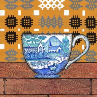 Welsh Yellow Tapestry with China Teacup Greeting Card