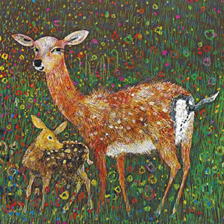 Doe and Deer Greeting Card by Brian Wildsmith