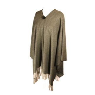 Spanish Wool Poncho Forest Green