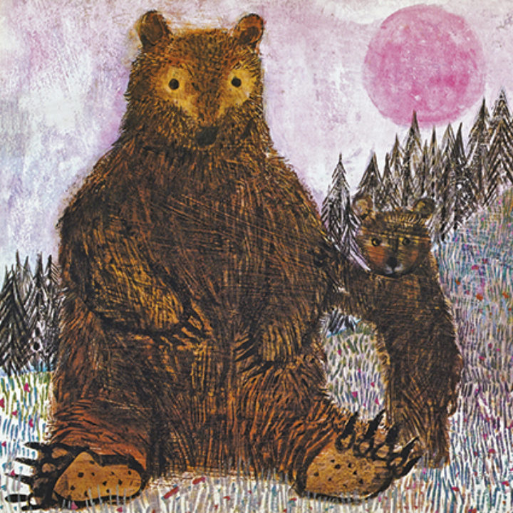 Bears and a Pink Moon Greeting Card by Brian Wildsmith