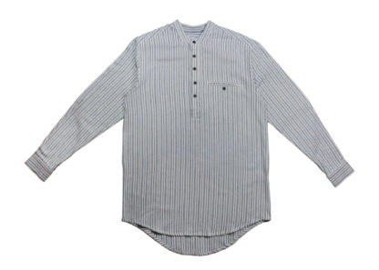 Mens Collarless Grandad Flannel Shirt