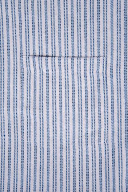 Mens Collarless Grandad Flannel Shirt Detail