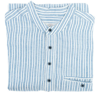 Mens Collarless Grandad Flannel Shirt Folded
