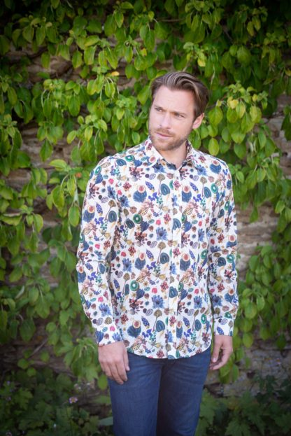 Male Model in Mens Liberty Cotton Shirt Floral Earth