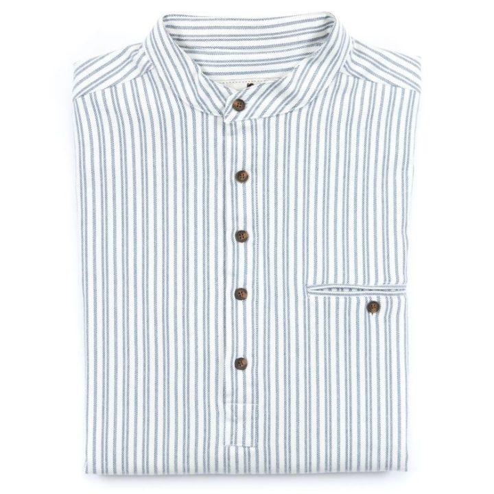 Mens Collarless Flannel Shirt Folded