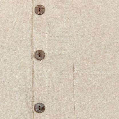 Mens Collarless Natural Hemp Shirt Detail of Buttons