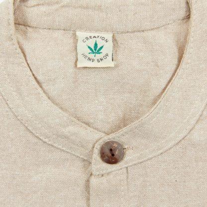 Mens Collarless Natural Hemp Shirt Detail of Collar