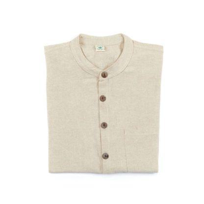 Mens Collarless Natural Hemp Shirt Folded