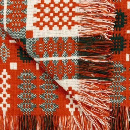 New Orange Red Welsh Tapestry Detail
