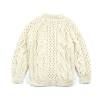 Womens Mens Hand Knitted Aran Wool Round Neck Jumper Flat Back View