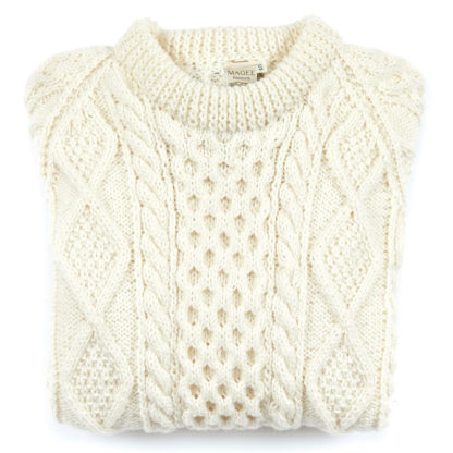Womens Mens Hand Knitted Aran Wool Round Neck Jumper Folded