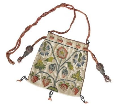 17th century silk embroidered purse NMS