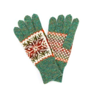 Hand Knitted Fair Isle Gloves Sage Green