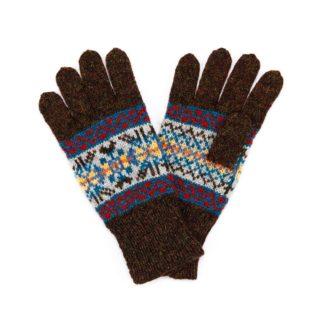 Hand Knitted Fair Isle Gloves Turf Brown