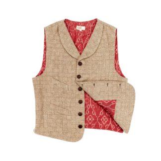Mens Cinch Back Tweed Waistcoat Front