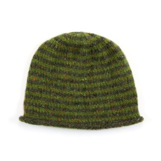 The Donegal Wool Beanie Hat Green Striped
