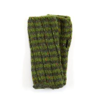 The Donegal Wool Mittens Green Striped